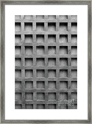 Abstract Wooden Grid Pattern Framed Print by Edward Fielding