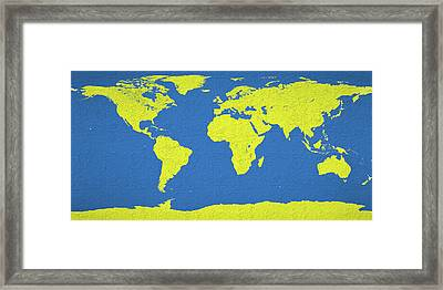 Abstract World Map 0317 Framed Print by Bob Orsillo