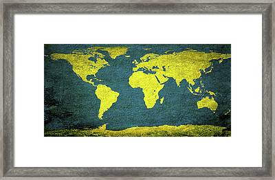 Abstract World Map 0318 Framed Print by Bob Orsillo
