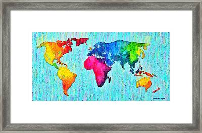Abstract World Map 10 - Pa Framed Print