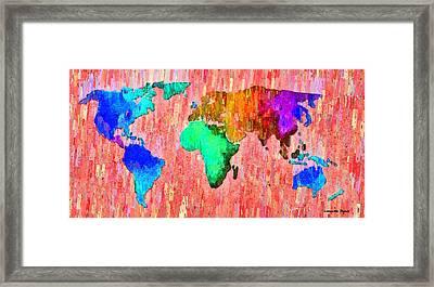 Abstract World Map 11 - Da Framed Print by Leonardo Digenio