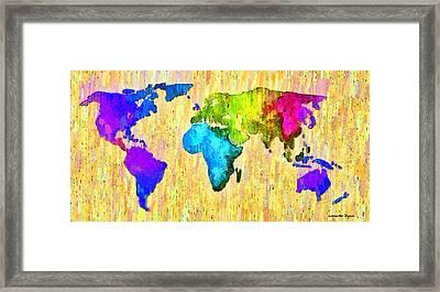 Abstract World Map 12 - Pa Framed Print by Leonardo Digenio