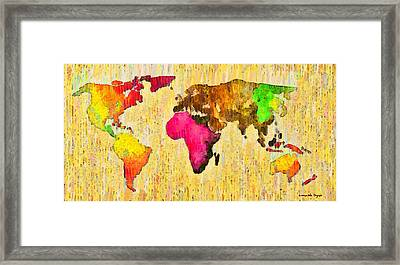 Abstract World Map 15 - Pa Framed Print by Leonardo Digenio