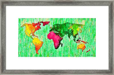 Abstract World Map 16 - Pa Framed Print