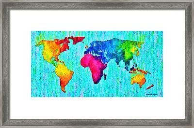 Abstract World Map 17 - Da Framed Print by Leonardo Digenio