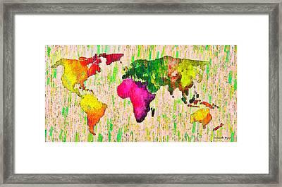 Abstract World Map 19 - Pa Framed Print by Leonardo Digenio
