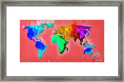 Abstract World Map 2 - Pa Framed Print by Leonardo Digenio