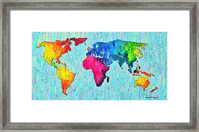 Abstract World Map Colorful 50 - Pa Framed Print by Leonardo Digenio