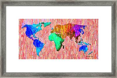 Abstract World Map Colorful 51 - Pa Framed Print
