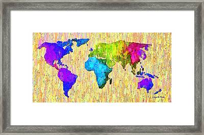 Abstract World Map Colorful 52 - Pa Framed Print by Leonardo Digenio