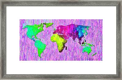 Abstract World Map Colorful 54 - Pa Framed Print by Leonardo Digenio