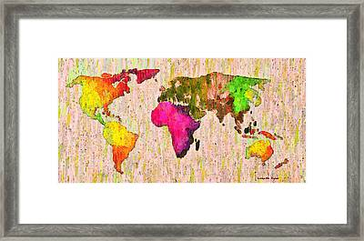 Abstract World Map Colorful 56 - Pa Framed Print