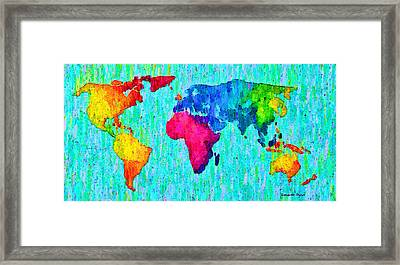 Abstract World Map Colorful 57 - Pa Framed Print by Leonardo Digenio