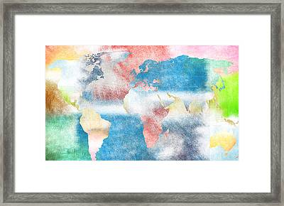 Abstract World Map Framed Print