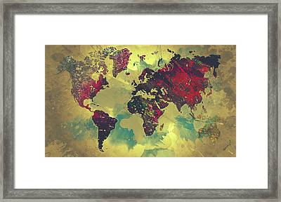 Abstract World Map Framed Print by Taylan Apukovska