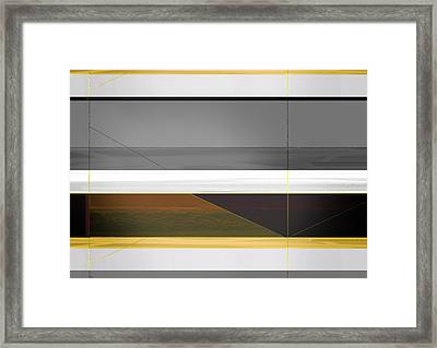 Abstract Yellow And Grey  Framed Print by Naxart Studio