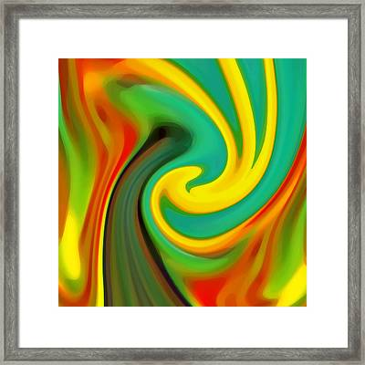 Abstract Yellow Flower Blooming Framed Print