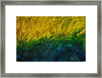Abstract Yellow, Green With Dark Blue.   Framed Print