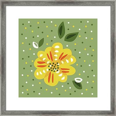 Abstract Yellow Primrose Flower Framed Print by Boriana Giormova