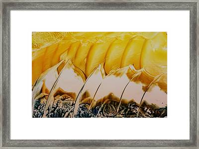 Abstract Yellow, White Waves And Sails Framed Print
