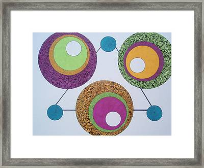 Framed Print featuring the drawing Abstracted Circles by Beth Akerman