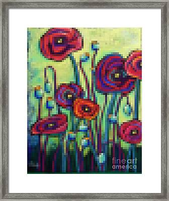Abstracted Poppies Framed Print by David Hinds