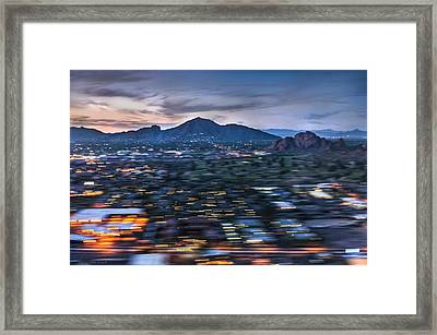 Abstracted Sunset Landing Framed Print by Louise Hill