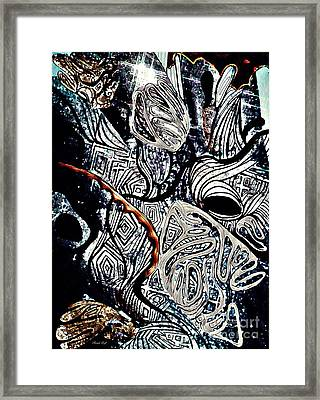 Abstraction In Silver Framed Print by Sarah Loft