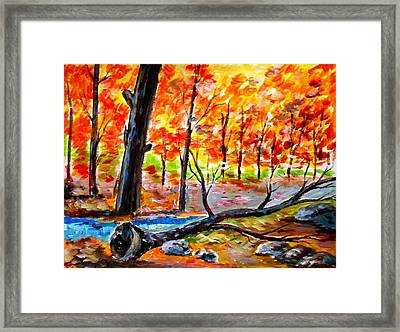 Fire In The Forest Framed Print
