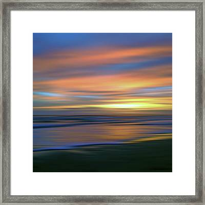 Abstract Sunset Illusions - Blue And Gold Framed Print by Joann Vitali