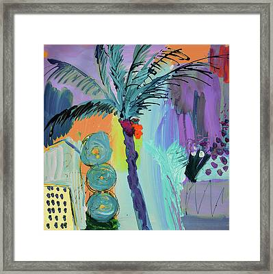 Abtract, Landscape With Palm Tree In California Framed Print by Amara Dacer
