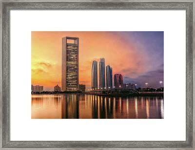Abu Dhabi, Uae, Abudhabi Skyline At The Sunset Framed Print