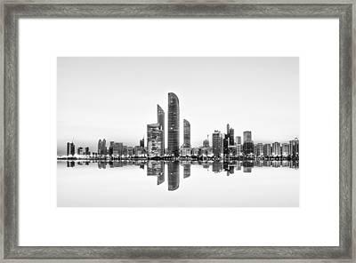 Abu Dhabi Urban Reflection Framed Print by Akhter Hasan