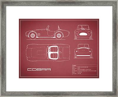 Ac Cobra Blueprint - Red Framed Print by Mark Rogan