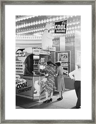 Ac Movie Theater Patrons Framed Print by John Vachon