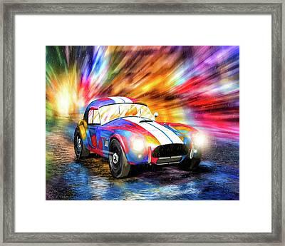 Shelby Cobra Roadster In The Rain Framed Print