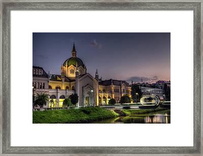 Academy Of Fine Arts, Sarajevo, Bosnia And Herzegovina At The Night Time Framed Print by Elenarts - Elena Duvernay photo