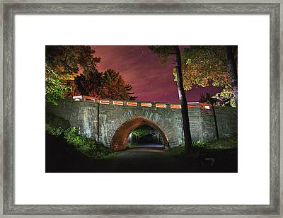 Acadia Carriage Bridge Under The Stars Framed Print