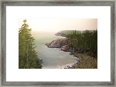 Acadia Maine Morning Mist Framed Print by Ken Ahlering