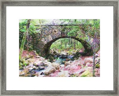 Acadia National Park - Cobblestone Bridge Abstract Framed Print