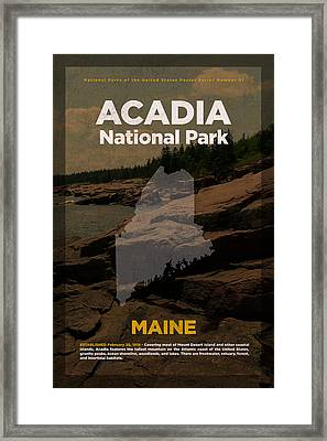 Acadia National Park In Maine Travel Poster Series Of National Parks Number 01 Framed Print by Design Turnpike