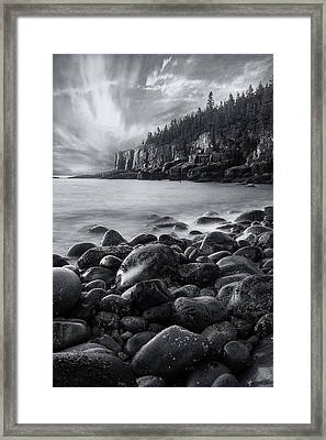 Acadia Radiance - Black And White Framed Print