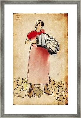 Accordian Player With Cats Framed Print