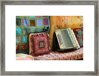 Accordion  With Colorful Pillows Framed Print