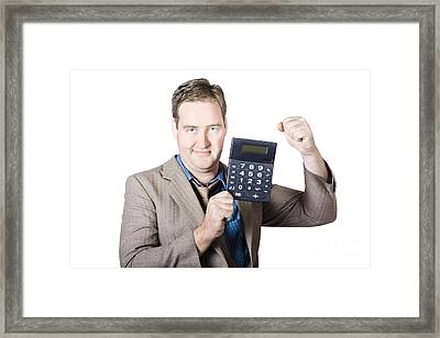 Accountant Working With A Calculator Framed Print by Jorgo Photography - Wall Art Gallery