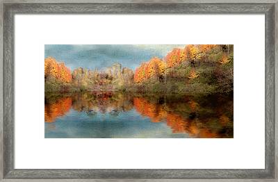 Accross The Lake In Autumn Framed Print