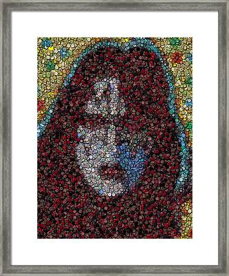 Ace Frehley Poker Chip Mosaic Framed Print
