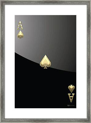 Ace Of Spades In Gold On Black   Framed Print by Serge Averbukh
