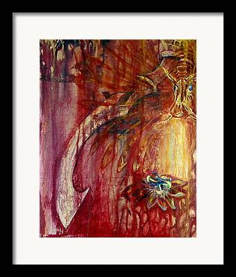 Passionflower Mixed Media Framed Prints
