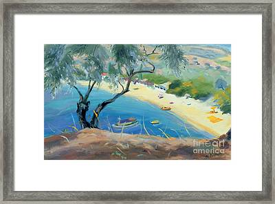 Achladies Bay - Skiathos - Greece Framed Print by Anne Durham